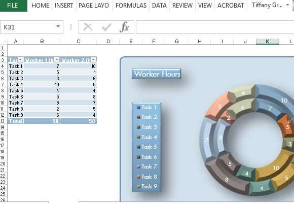 Modern Donut Chart Template For Excel