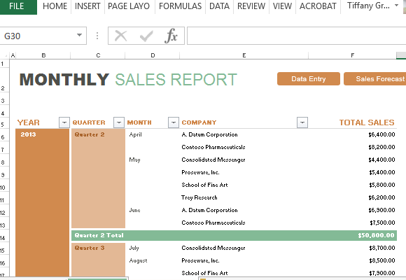 Nice Free Office Templates To Business Monthly Report