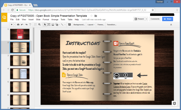 Open Book Google Slides Template - Google docs powerpoint presentation templates