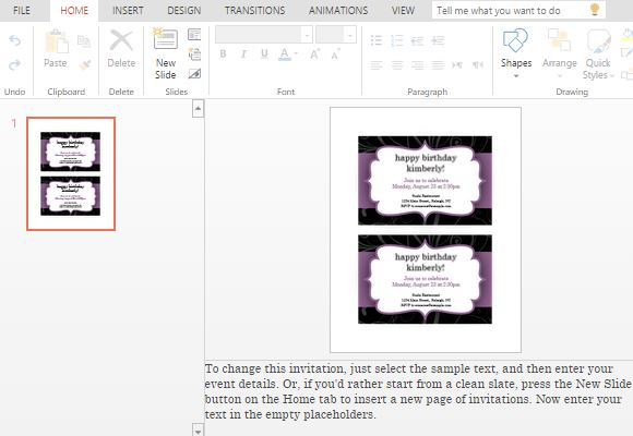 Make party invitations using powerpoint online purple and black template for party invitations stopboris Choice Image