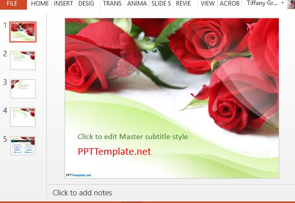 Free rose powerpoint templates red roses powerpoint template for all your presentation toneelgroepblik Images