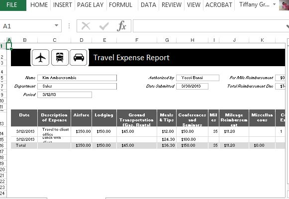 Traveling Expense Calculator For Excel
