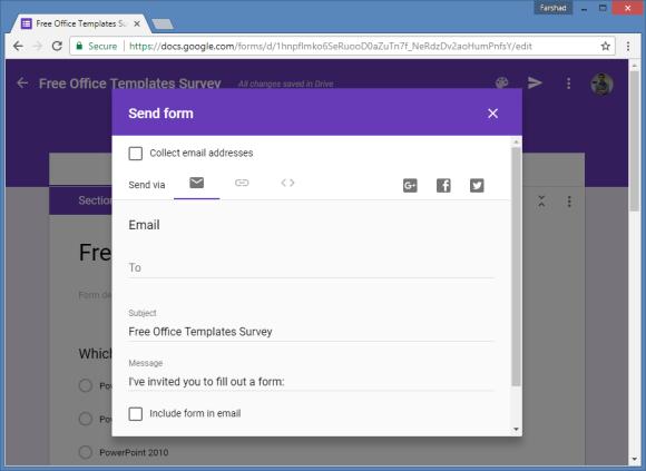 share google form survey