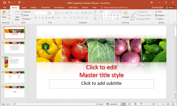 Vegetables template for powerpoint