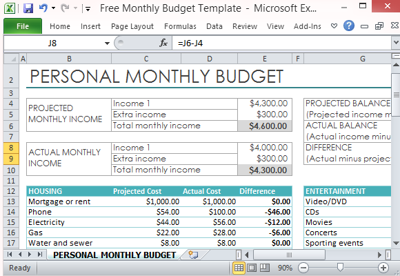 free personal monthly budget template for excel. Black Bedroom Furniture Sets. Home Design Ideas
