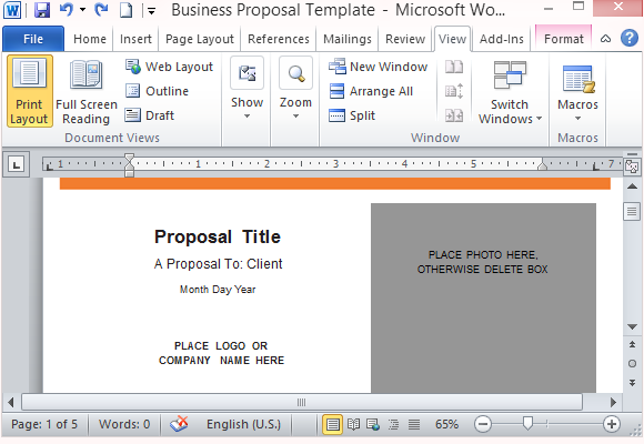 Modern ui business proposal template for word for How to create a proposal template in word