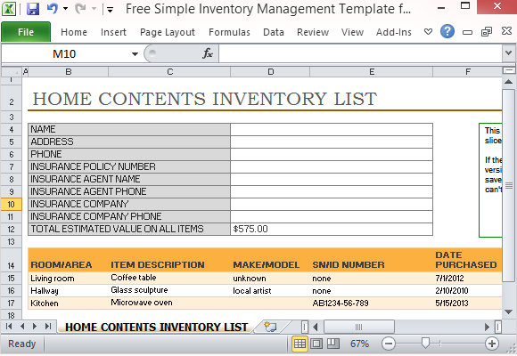 free simple inventory management template for excel. Black Bedroom Furniture Sets. Home Design Ideas