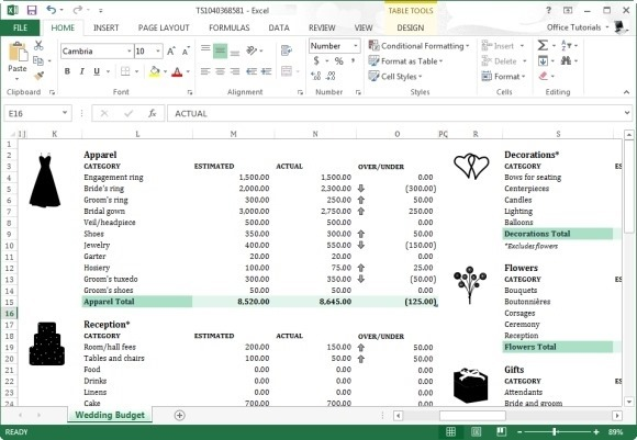 calculate wedding expenditure