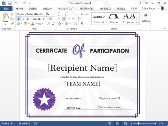 Certificate of participation template for microsoft word for Template for certificate of participation in workshop