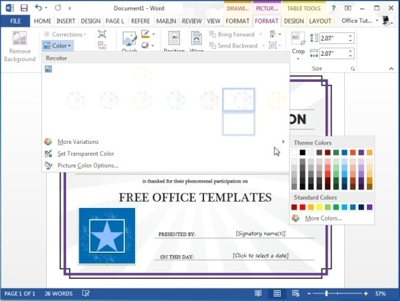 customize certificate template for word