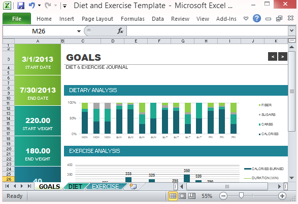 Diet and exercise goal tracking template for excel 2013 for Progress chart excel template