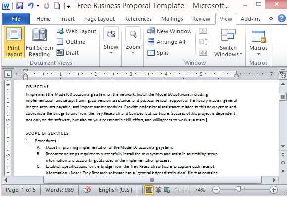 Free business proposal template for microsoft word comprehensive proposal template friedricerecipe Choice Image