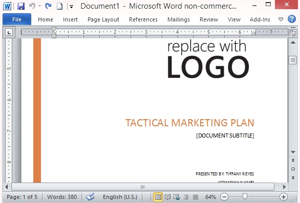 Free marketing strategy template for word for Promotional strategy template