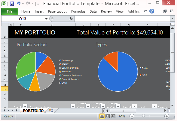 Free financial portfolio template for microsoft excel 2013 for Microsoft office portfolio template