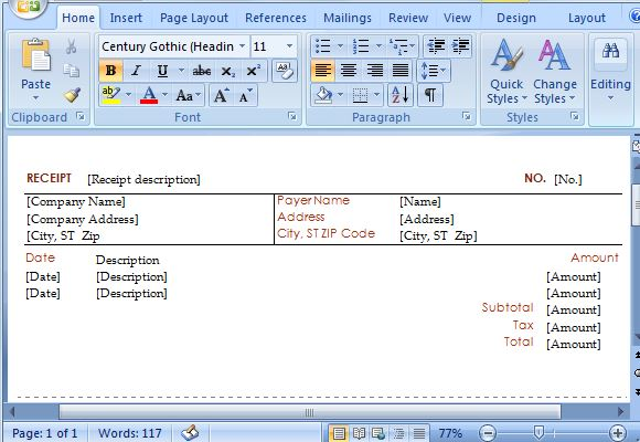 how to create instant receipts in microsoft word