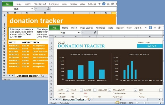 donation tracker templates for excel