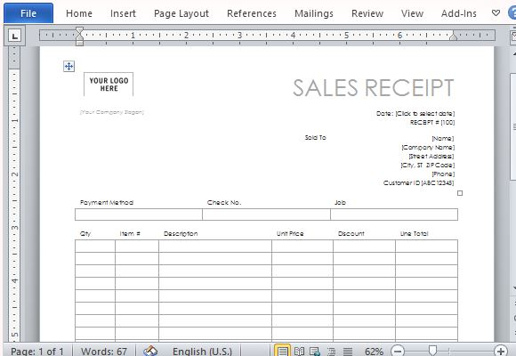 one page sales receipt form template for word