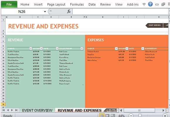 List Your Revenue and Expenses in Color-Coded Tables