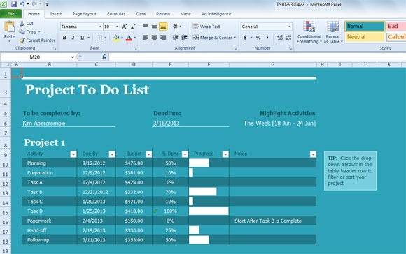 project to do list template