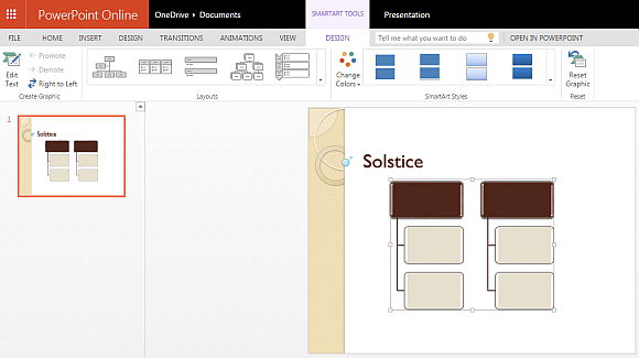 Add SmartARt graphics to solstice PowerPoint template