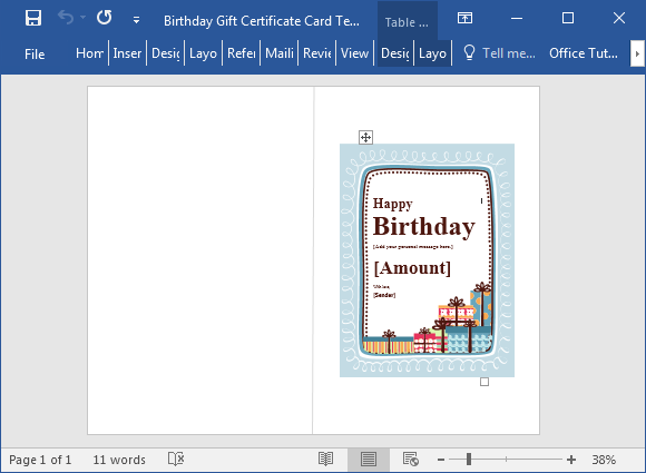 Birthday gift certificate template for Word 2016