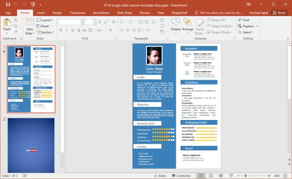 Blue Single Slide Resume Template for PowerPoint