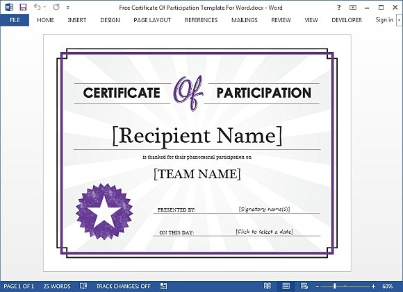Certificate of participation template for Word