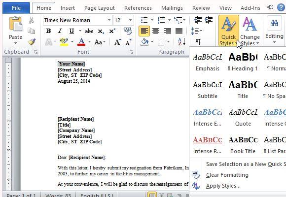 resignation letter microsoft template - Template