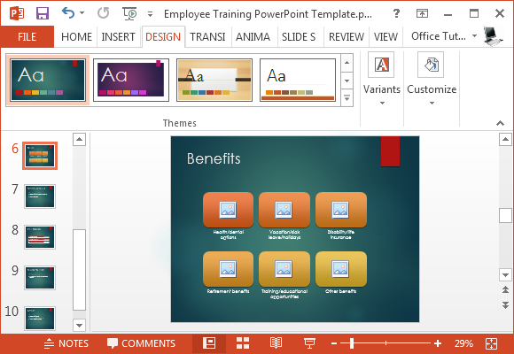 Change theme for employee training template