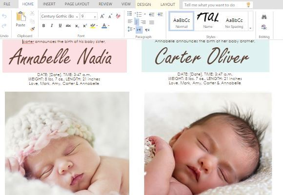 MS Word Templates for Making Cards for Child Birth ...