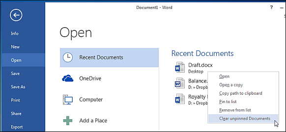 Clear unpinned documents