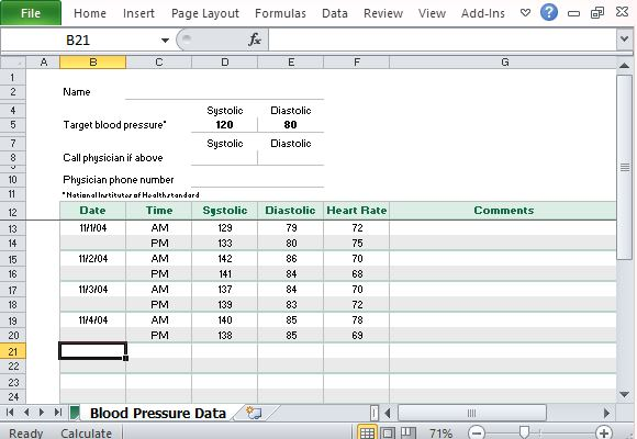 free blood pressure tracker template for excel