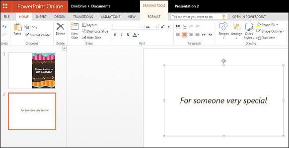 Edit Birthday template using PowerPoint Online