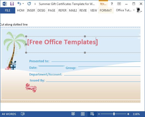 Edit summer gift certificate sample