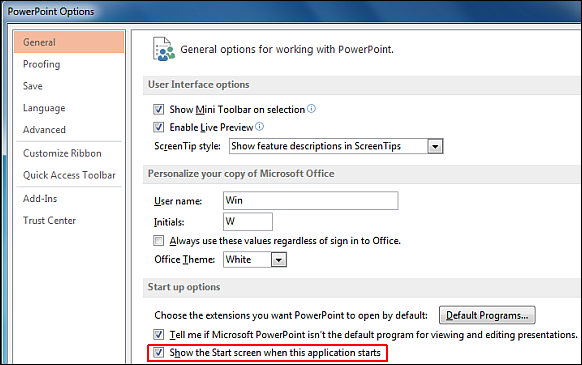 Enable or disable Office 2013 start screen menu