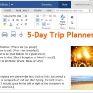 Five Day Trip Planner Template for Word Online