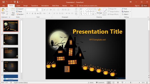 Free Dark Halloween PowerPoint Template