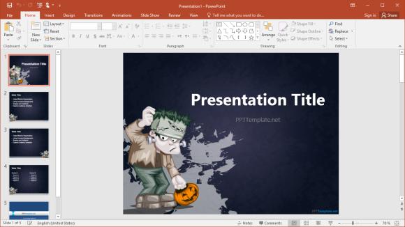 Free Halloween Frankenstein PowerPoint Template