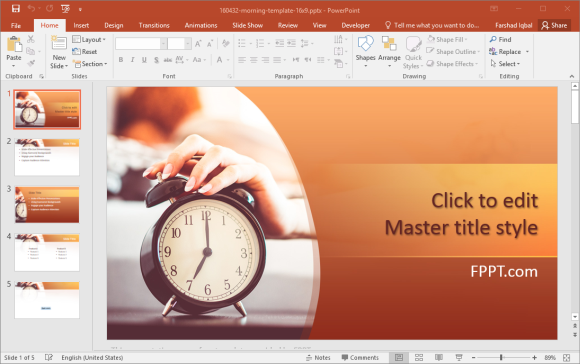 Free Morning Alarm Clock PowerPoint Template