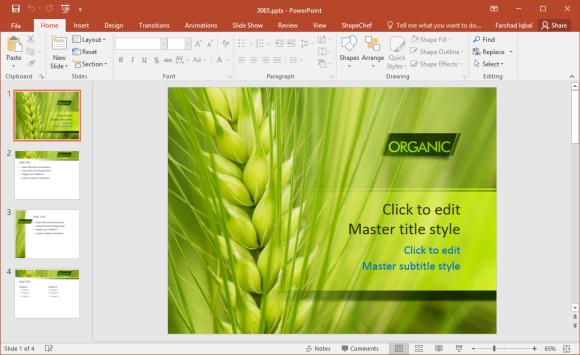 Free Organic Wheat PowerPoint Template