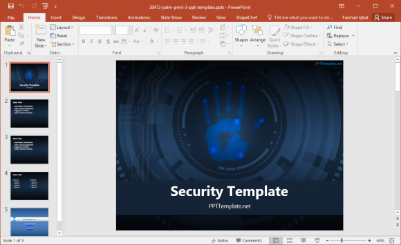 Free Palm Print PowerPoint Template