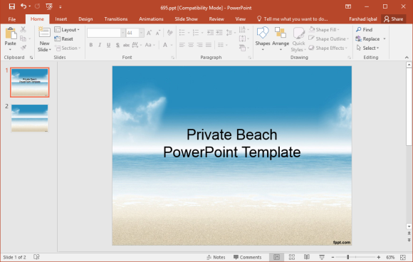 Free Private Beach PowerPoint Template