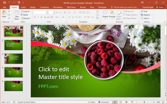 Free Red Raspberry PowerPoint Template