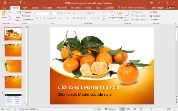 Free Tangerines PowerPoint Template