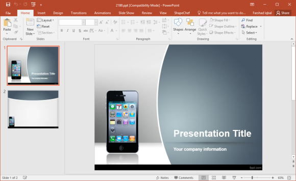 Free iPhone PowerPoint Template