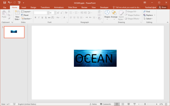 Image as Background of Text in PowerPoint