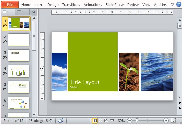 Nature-Inspired Layout for Widescreen Presentations