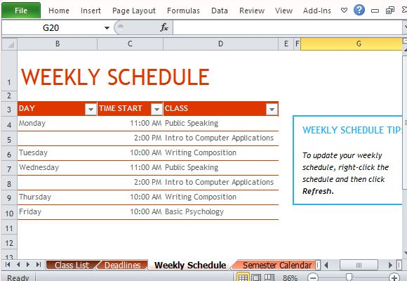 Plan Your Weekly Activities and Come Out On Top
