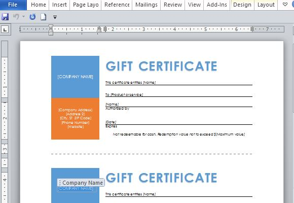 Print Multiple Gift Certificates in One Page