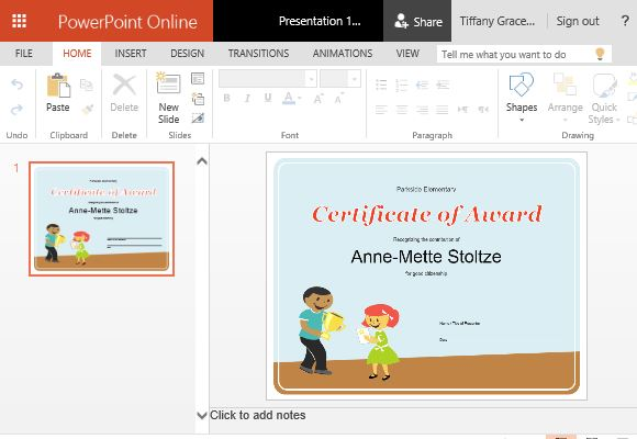 How to create printable award certificates in powerpoint for Award certificate template powerpoint